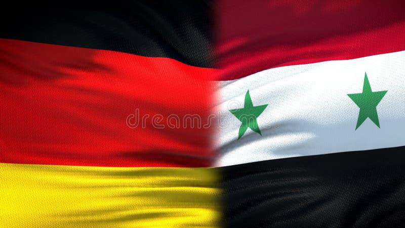 Предпосылка флагов Германии и Сирии, дипломатический и экономические отношения, безопасность стоковое изображение rf