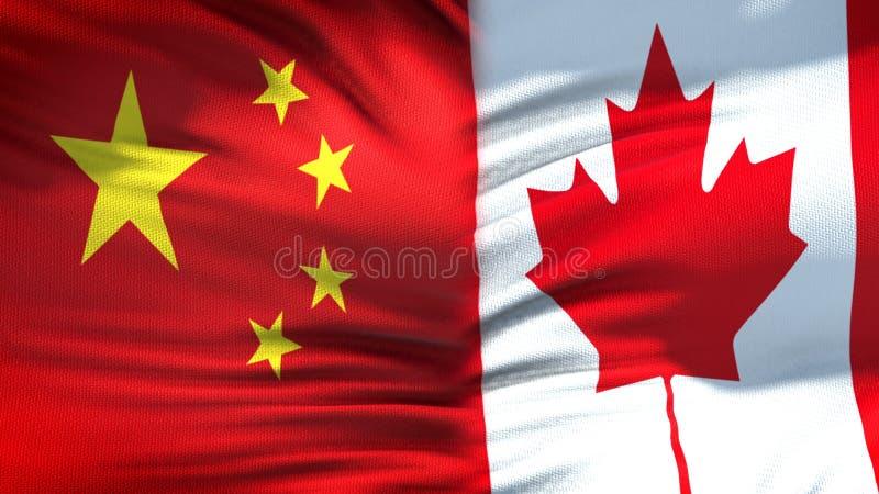 Предпосылка флагов Китая и Канады, дипломатический и экономические отношения, торговля стоковые изображения rf