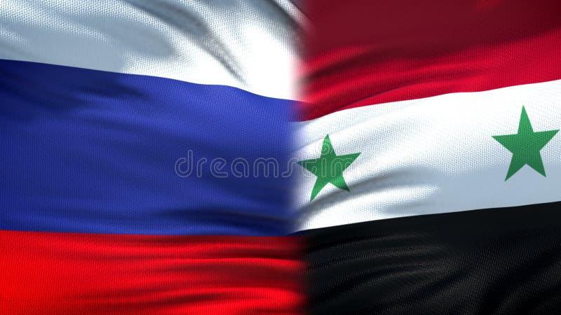 Предпосылка флагов России и Сирии, дипломатический и экономические отношения, дело стоковые фотографии rf