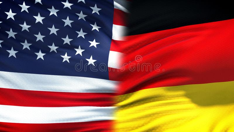 Предпосылка флагов Соединенных Штатов и Германии, дипломатический и экономические отношения стоковая фотография