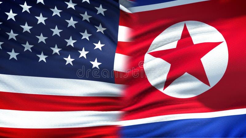 Предпосылка флагов Соединенных Штатов и Корейской Северной Кореи дипломатическая и экономические отношения стоковые изображения