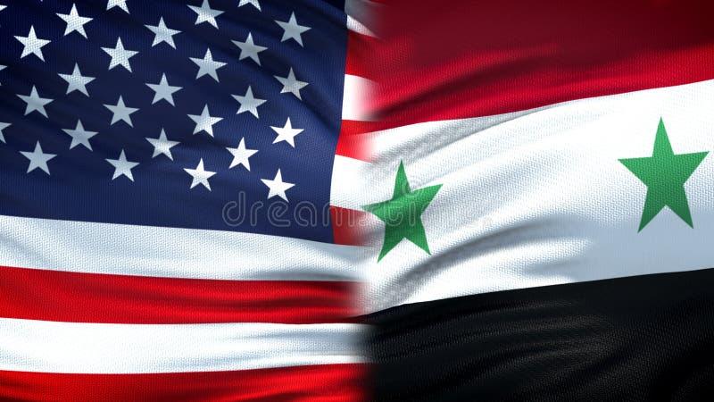 Предпосылка флагов Соединенных Штатов и Сирии, дипломатический и экономические отношения стоковые изображения rf