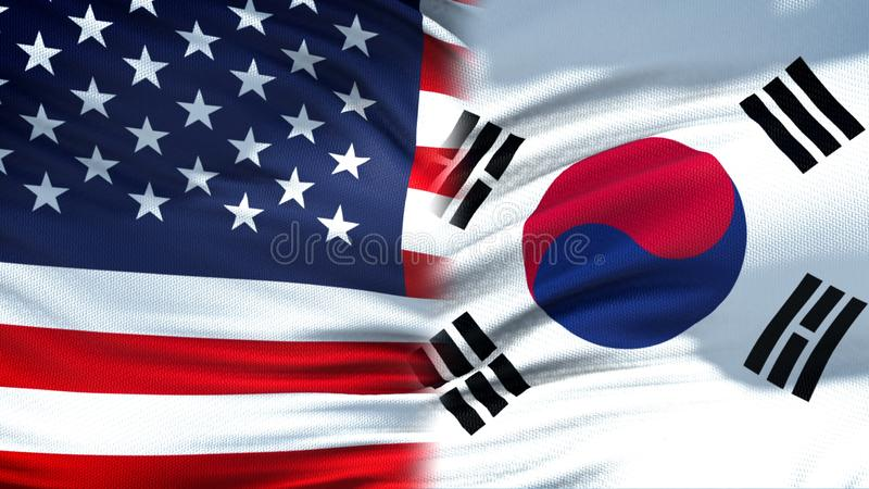 Предпосылка флагов Соединенных Штатов и Южной Кореи дипломатическая и экономические отношения стоковые фотографии rf