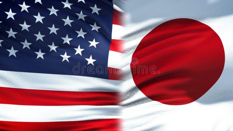 Предпосылка флагов Соединенных Штатов и Японии, дипломатический и экономические отношения стоковые фотографии rf