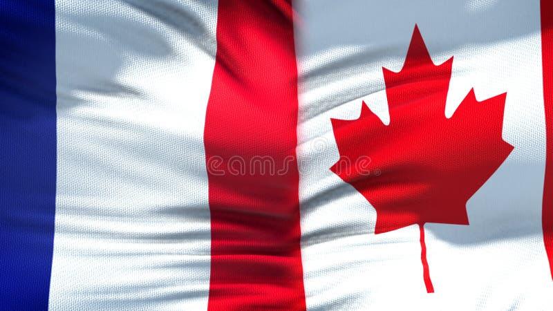 Предпосылка флагов Франции и Канады, дипломатический и экономические отношения, финансы стоковое изображение rf
