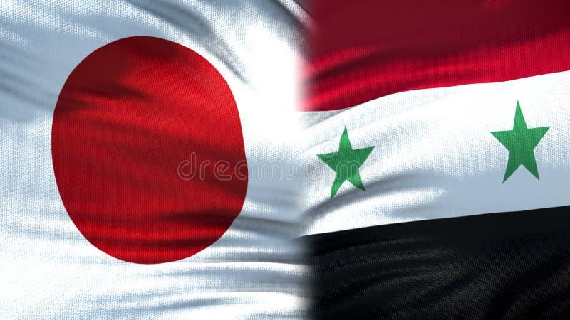 Предпосылка флагов Японии и Сирии, дипломатический и экономические отношения, безопасность стоковое изображение rf