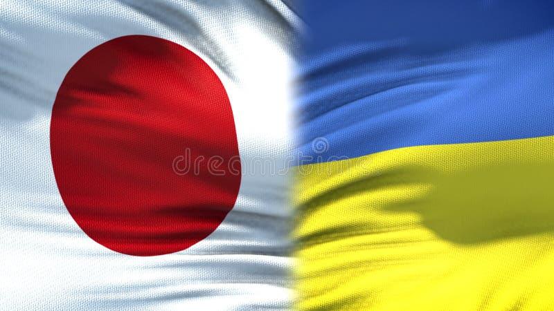 Предпосылка флагов Японии и Украины, дипломатический и экономические отношения, финансы стоковые фотографии rf