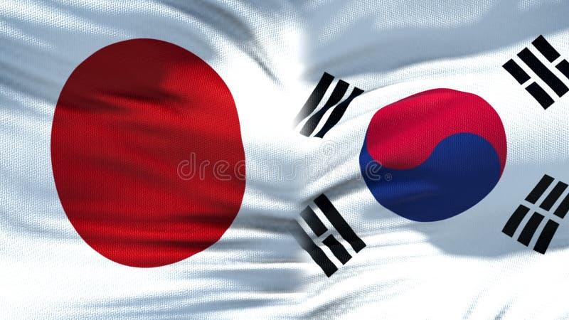 Предпосылка флагов Японии и Южной Кореи, дипломатический и экономические отношения, торговля стоковое фото