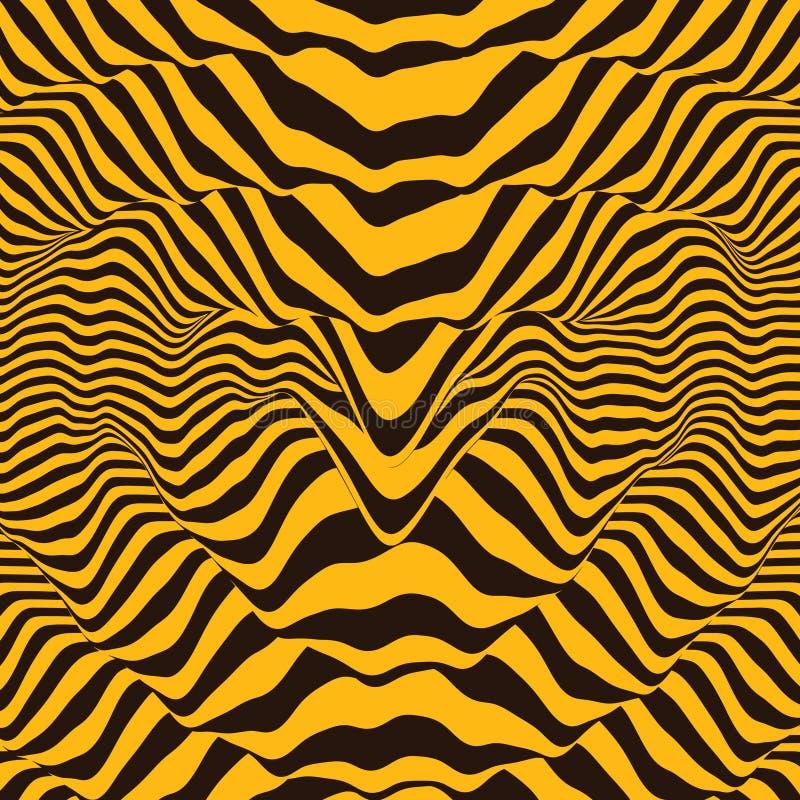 Предпосылка формы волны Динамический визуальный эффект Поверхностное искажение E Иллюстрация вектора striped Звук иллюстрация вектора