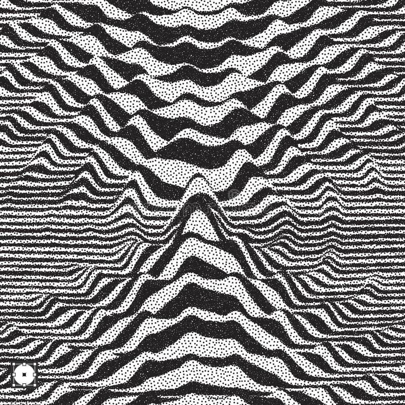 Предпосылка формы волны Динамический визуальный эффект Поверхностное искажение Черно-белые звуковые войны Картина пуантилизма с о иллюстрация штока