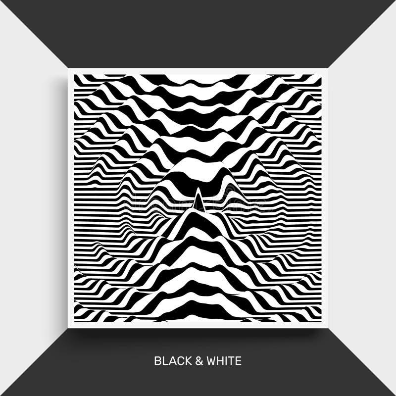 Предпосылка формы волны Поверхностное искажение E Иллюстрация вектора striped Черно-белые звуковые войны иллюстрация штока