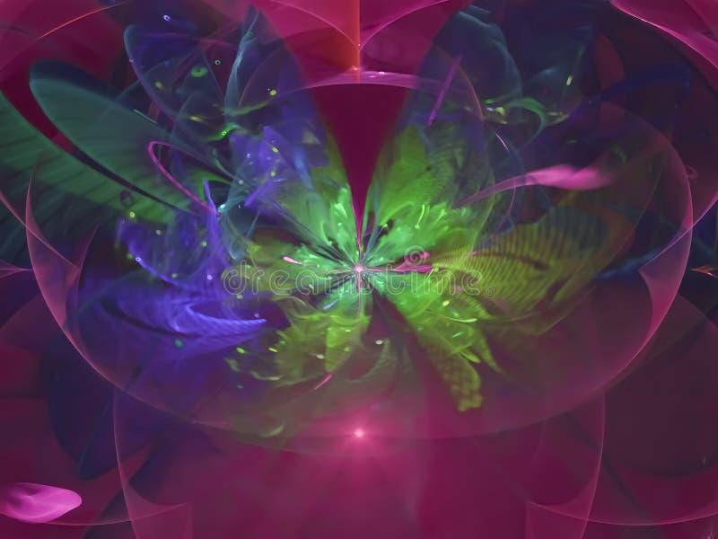 Предпосылка фрактали абстрактная, картина творческая, картина воодушевленности блеска красочного цветка силы творческая футуристи бесплатная иллюстрация