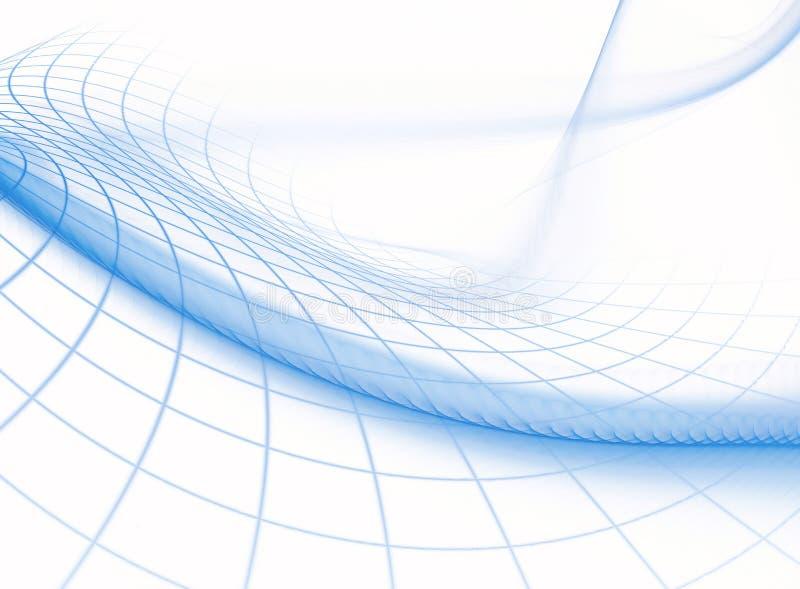 Предпосылка фрактали абстрактная от графических голубых линий создавая белые квадраты иллюстрация вектора