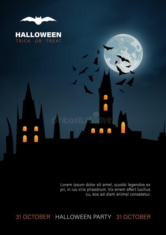 Предпосылка хеллоуина вертикальная с преследовать домом и полнолунием бесплатная иллюстрация