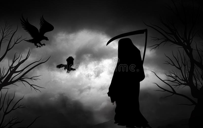 Предпосылка хеллоуина мрачного жнеца пугающая бесплатная иллюстрация