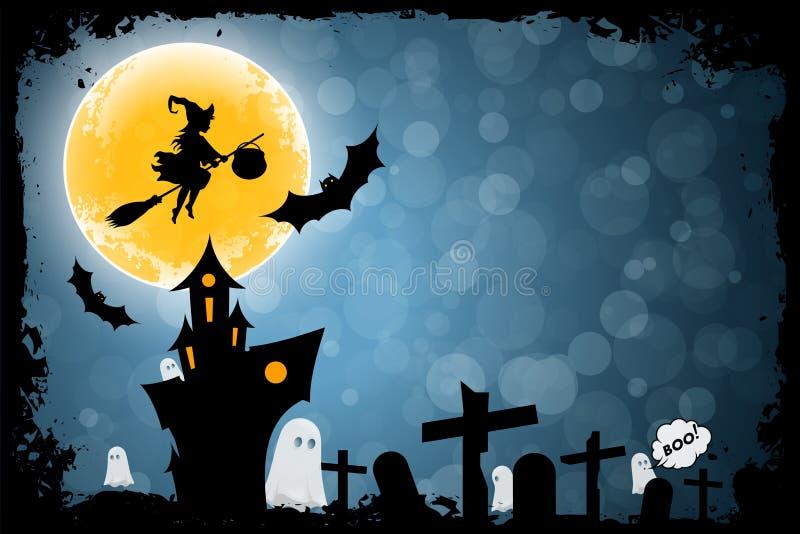 Предпосылка хеллоуина смешная с ведьмой и преследовать домом бесплатная иллюстрация