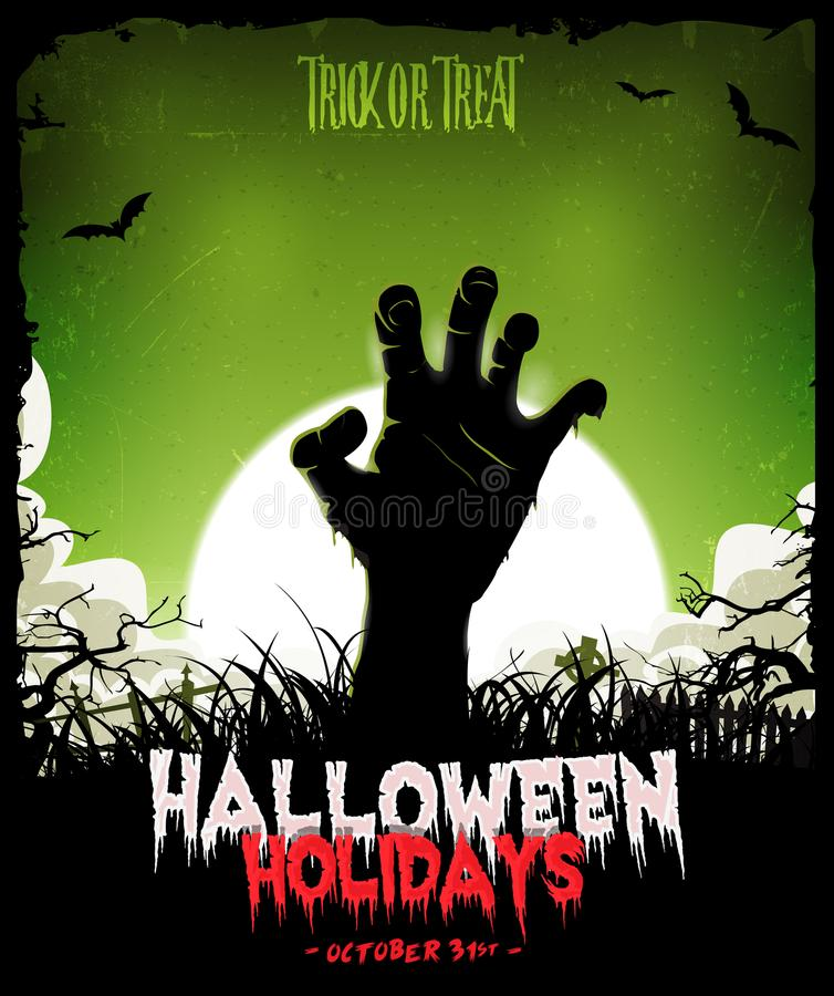 Предпосылка хеллоуина с рукой зомби нежитей бесплатная иллюстрация