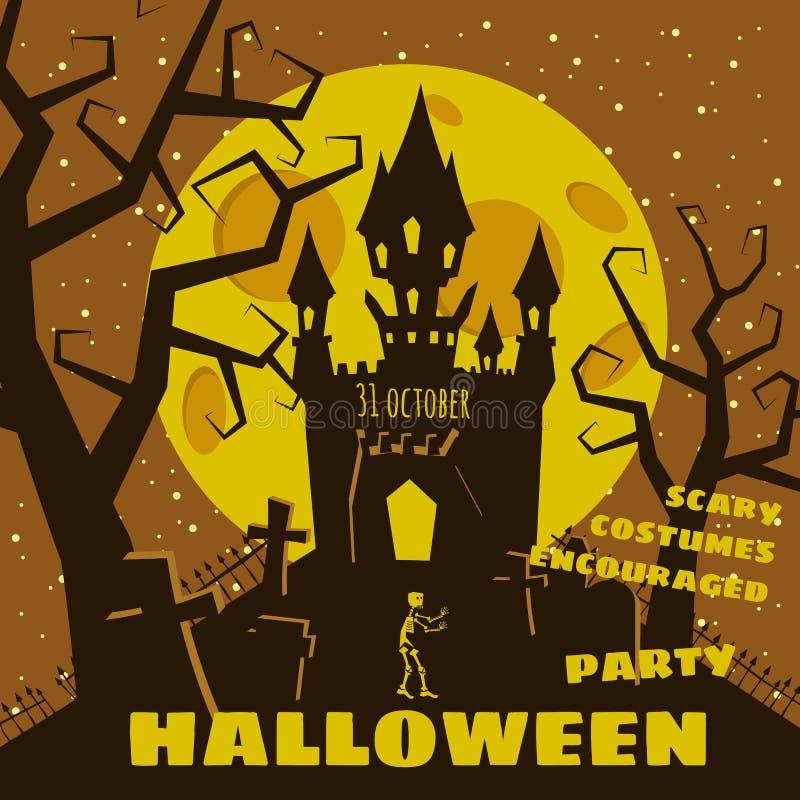 Предпосылка хеллоуина с semetery и sceleton, преследовать замком, домом и полнолунием Плакат, рогулька или приглашение бесплатная иллюстрация