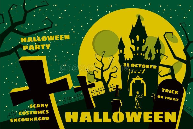 Предпосылка хеллоуина с semetery и sceleton, преследовать замком, домом и полнолунием Плакат, рогулька или приглашение иллюстрация штока