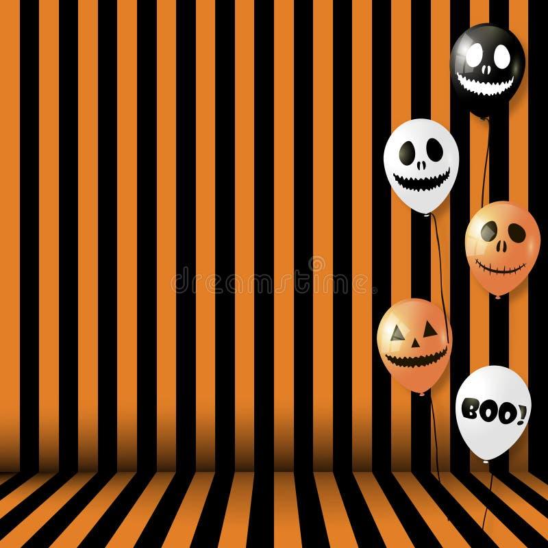 Предпосылка хеллоуина с striped комнатой и воздушными шарами вектор иллюстрация штока