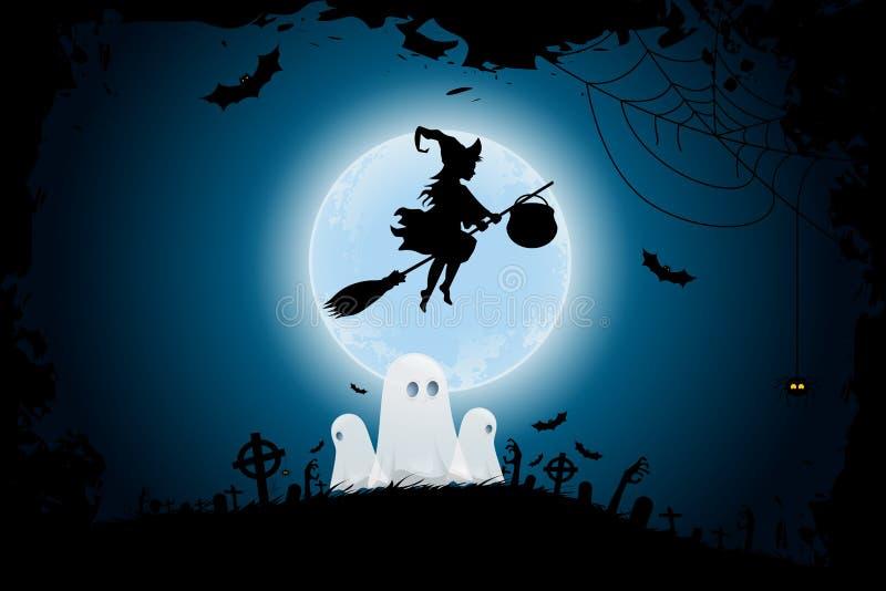 Предпосылка хеллоуина с Whitch и призраками иллюстрация вектора