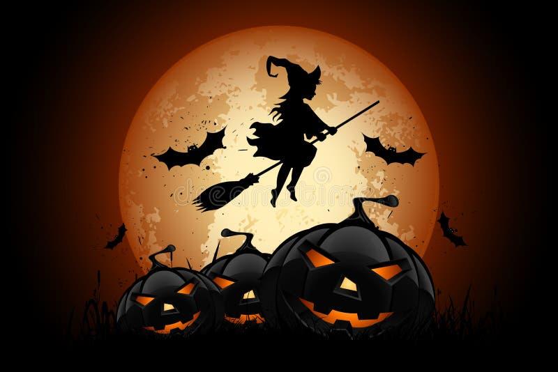 Предпосылка хеллоуина с Whitch и тыквой иллюстрация штока