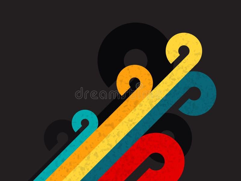 Предпосылка цвета конспекта ретро с кругом и линией иллюстрация вектора