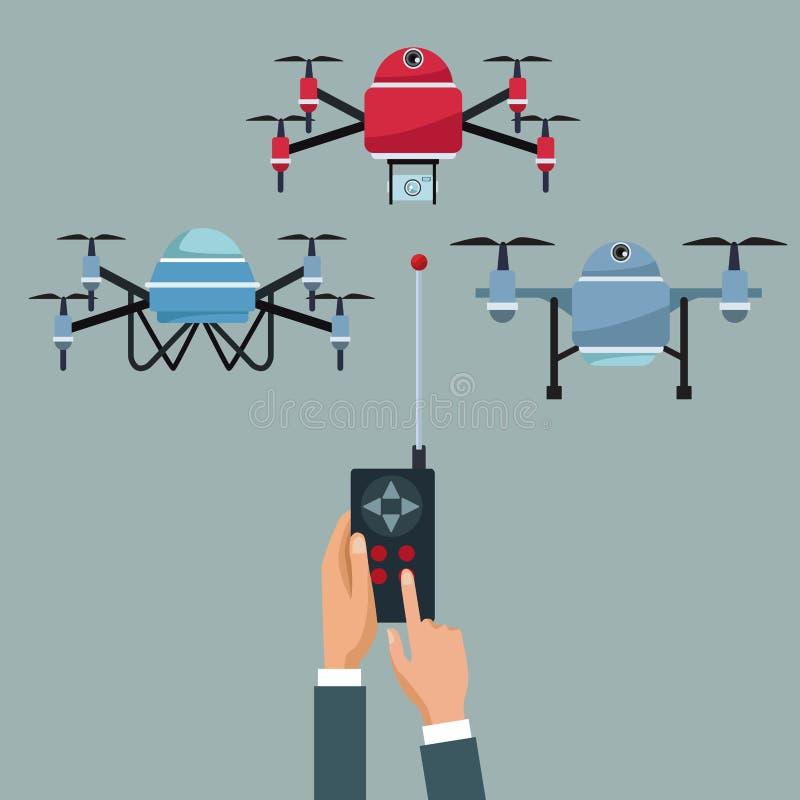 Предпосылка цвета с людьми регулирует дистанционное управление quadrocopters и трутней иллюстрация штока