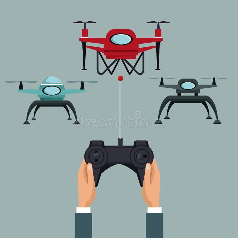 Предпосылка цвета с людьми регулирует дистанционное управление с антенной quadrocopters и трутней иллюстрация вектора
