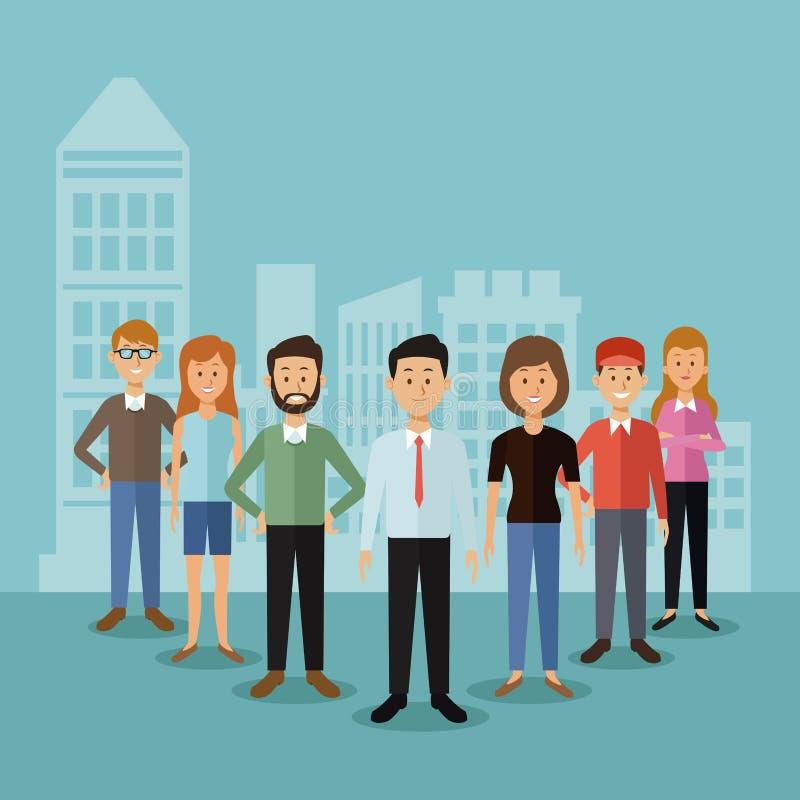Предпосылка цвета с полными людьми группы тела стоя и силуэтом ландшафта города позади иллюстрация вектора