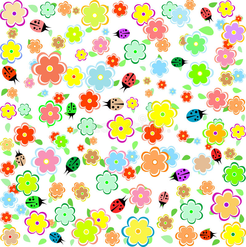 предпосылка цветет весна ladybugs малая иллюстрация вектора