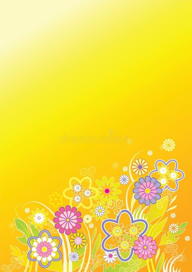 предпосылка цветет желтый цвет иллюстрация вектора
