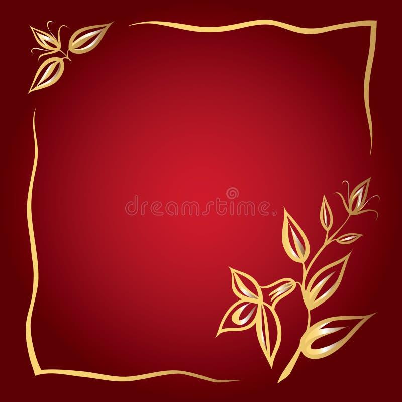 предпосылка цветет красный цвет рамки золотистый иллюстрация вектора
