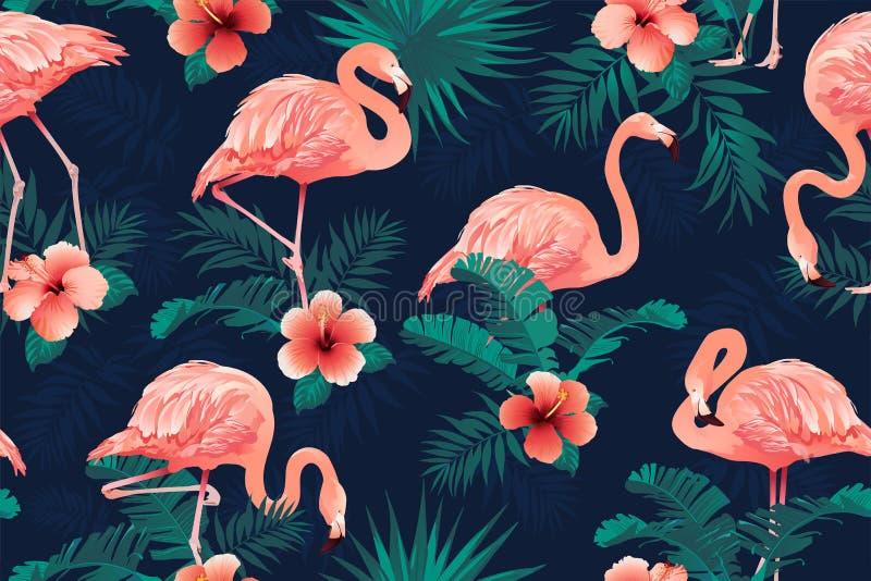 Предпосылка цветков красивой птицы фламинго тропическая вектор картины безшовный иллюстрация вектора