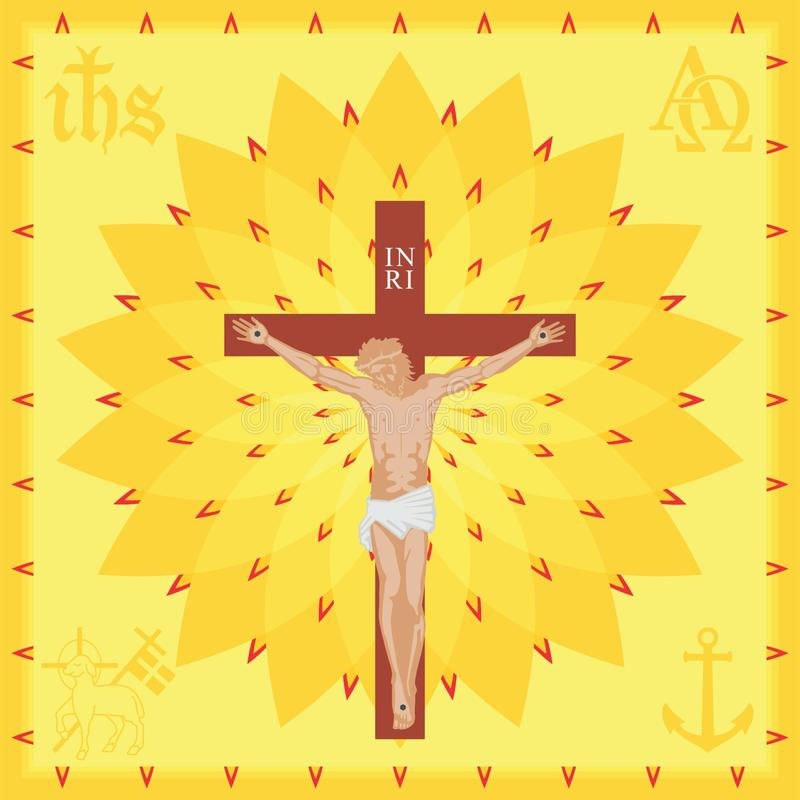 Предпосылка церков Христос Покрашенное полное иллюстрация штока