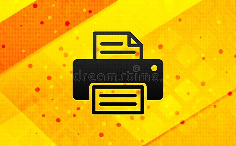 Предпосылка цифрового знамени конспекта значка принтера желтая иллюстрация вектора