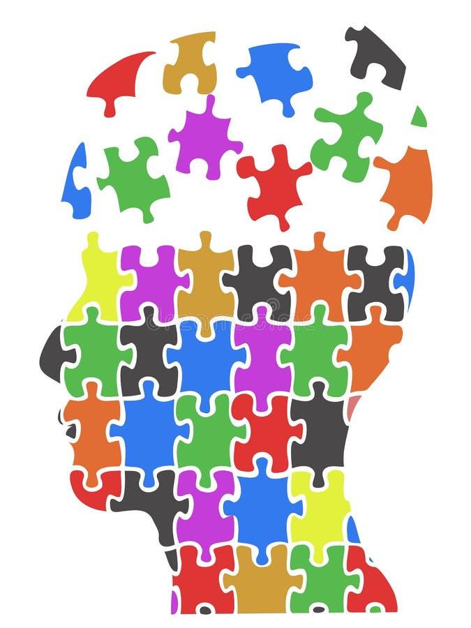 Предпосылка частей головоломки головы цвета иллюстрация вектора