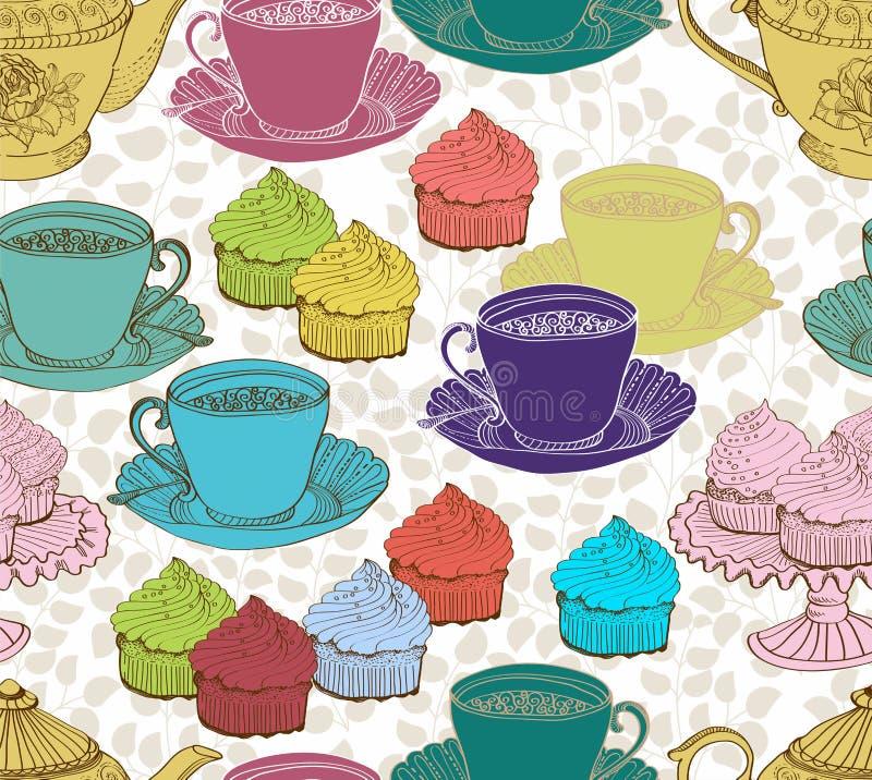 Предпосылка чая сбора винограда. безшовная картина бесплатная иллюстрация