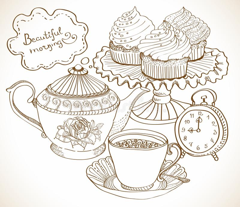 Предпосылка чая сбора винограда, комплект для завтрака иллюстрация вектора