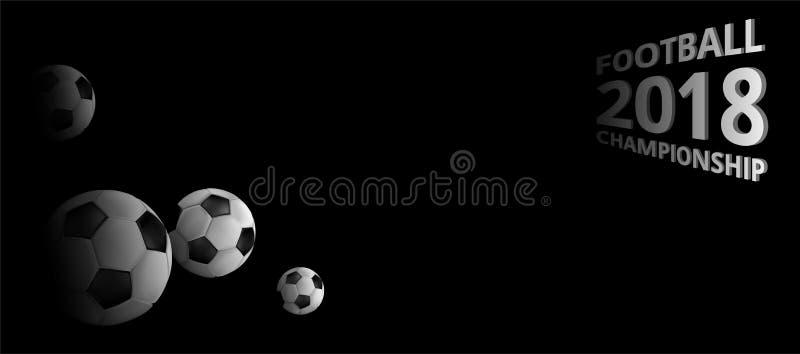 Предпосылка 2018 чемпионата футбола с футбольными мячами иллюстрация штока