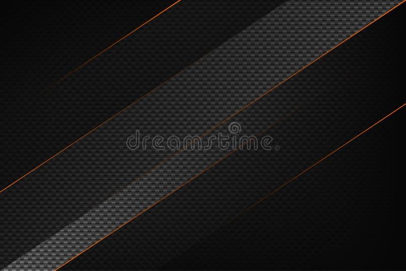 Предпосылка черноты конспекта геометрическая с оранжевыми нашивками Современная текстура волокна углерода иллюстрация штока