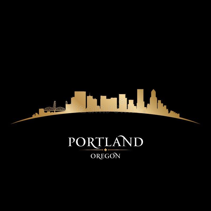 Предпосылка черноты силуэта горизонта города Портленда Орегона иллюстрация штока