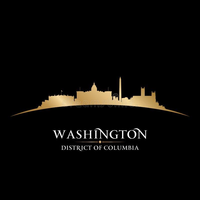 Предпосылка черноты силуэта горизонта города DC Вашингтона иллюстрация штока