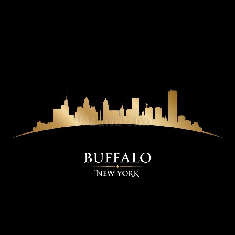 Предпосылка черноты силуэта горизонта Нью-Йорка буйвола иллюстрация вектора