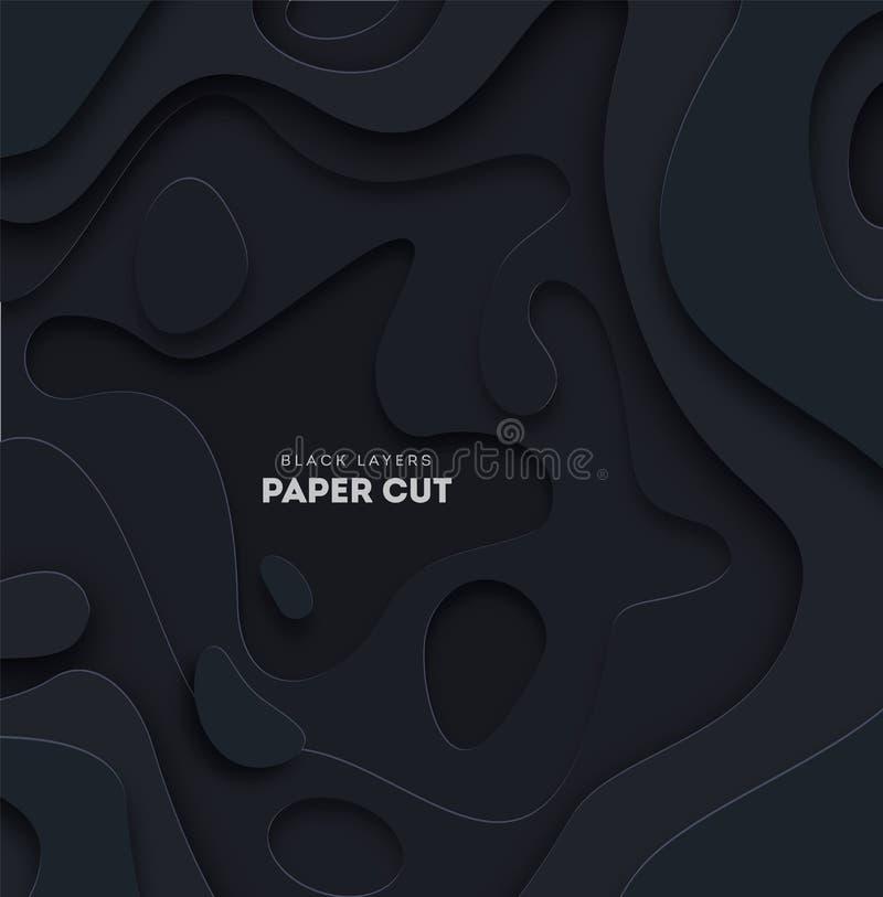 предпосылка черноты 3D абстрактная с формами отрезка белой бумаги r иллюстрация вектора
