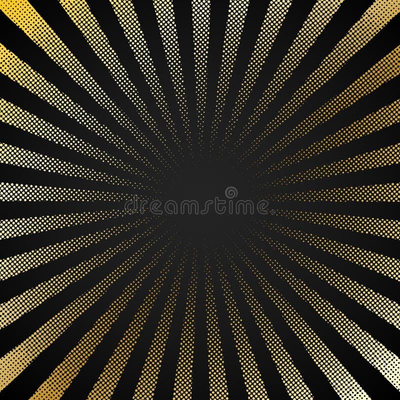 Предпосылка черноты starburst конспекта ретро сияющая со стилем полутонового изображения текстуры картины точек золота Винтажный  иллюстрация штока