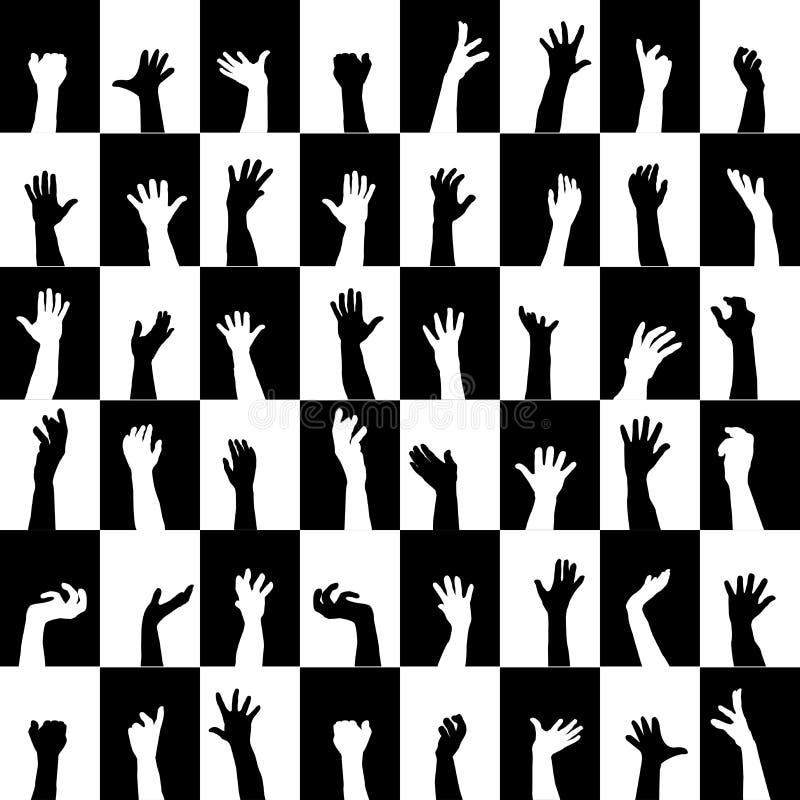 Предпосылка черно-белых квадратов с силуэтами рук иллюстрация вектора