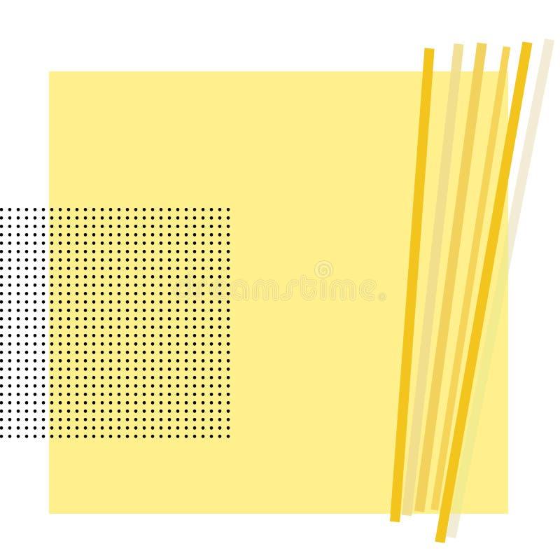 Предпосылка черных точек и желтого квадрата иллюстрация штока