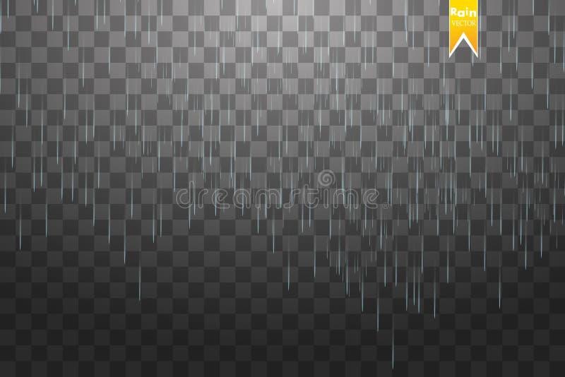 Предпосылка шаблона дождя прозрачная Падая вода падает текстура Осадки природы на checkered предпосылке иллюстрация штока