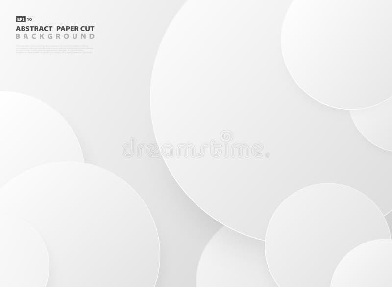 Предпосылка шаблона отрезка бумаги дизайна картины круга градиента конспекта серая r иллюстрация вектора